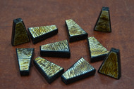 15 Pcs Handmade Stripe Brown Triangle Wood Beads 30mm