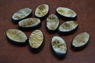15 Pcs Handmade Stripe Brown Oval Wood Beads 30mm