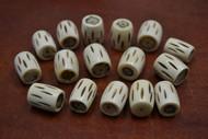 "30 Pcs Carved Stripe Brown Buffalo Bone Tube Beads 7/8"""