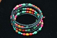 Handmade Assort Color Wood Coco Bead Memory Wire Charm Bracelet