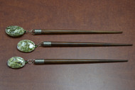 3 Pcs Handmade Green Abalone Shell Wood Hairsticks