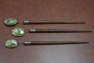 3 Pcs Handmade Green Abalone Shell Wood Hairsticks