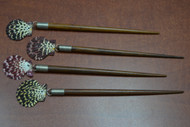 4 Pcs Handmade Pecten Scallop Shell Wood Hairsticks