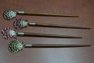 4 Pcs Handmade Pecten Scallop Shell Wood Hairsticks