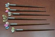 6 Pcs Handmade Assort Cowrie Shell Wood Hairsticks