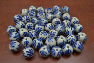 55 Pcs Blue Ceramic Round Circle Beads 5/8""