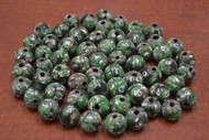 100 Pcs Handmade Green Round Glass Beading Beads 12mm