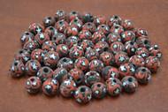 100 Pcs Handmade Red Black Round Glass Beading Beads 12mm