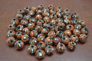 100 Pcs Handmade Orange Round Glass Beading Beads 12mm