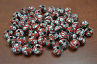 100 Pcs Handmade White Red Round Glass Beading Beads 12mm