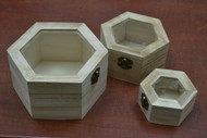 3 Pcs Set Handmade Brown Wood Jewelry Keepsake Storage Wood Boxes