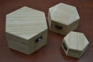 3 Pcs Set Handmade Brown Wood Storage Keepsake Wood Boxes