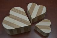 3 Pcs Set Handmade Heart Brown Wood Storage Keepsake Wood Boxes