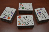 4 Pcs Set Handmade Carved Flower Storage Keepsake Soapstone Boxes