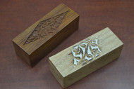 2 Pcs Set Handmade Brown Storage Keepsake Wood Box
