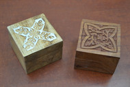 2 Pcs Set Handmade Brown Storage Keepsake Wood Boxes