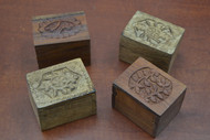 4 Pcs Set Handmade Storage Keepsake Brown Wood Boxes