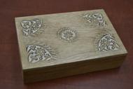 Handmade Carved Brown Flower Storage Keepsake Wood Box