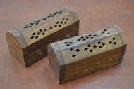 2 Pcs Handmade Carved Incense Burner Coffin Wood Boxes