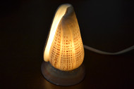 Spotted Brown Lettered Cone Sea Shell Table Lamp
