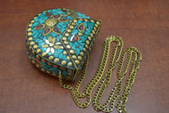 Handmade Turquoise Shell Clutch Vintage Brass Metal Purse