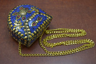Handmade Blue Shell Clutch Vintage Brass Metal Purse