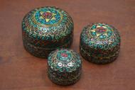 3 Pcs Set Handmade Turquoise Coral Nepal Trinket Boxes