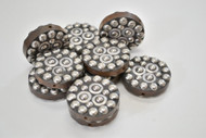 12 Pcs Handmade Round Silver Plated Metal Beading Beads