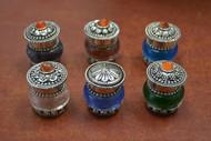 6 Pcs Set Multi Color Mini Glass Gemstone Cap Bottles