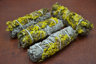 "Yellow Sinuata California White Sage Smudge Bundle 4"""