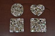 4 Pcs Shape Dog Abalone Shell Blank Inlay Pendants