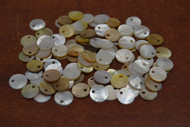 100 Pcs Golden Mother of Pearl Shell Charms 6mm