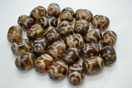 80 Pcs Swirl Brown Resin Plastic Tube Beads 1""