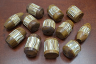 12 Pcs Assort Brown Mother of Pearl Shell Wood Beads