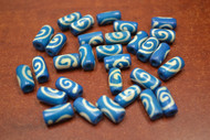 Dyed Blue Swirl Tube Plain Bone Beads 12mm