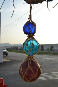 "Reproduction Trio Glass Float Fishing Balls 5"" 6"" 8"""