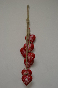 Red Heart Rusty Iron Metal Bells Windchime