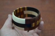 Brown Wood Pattern Cuff Bangle