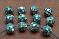 12 Pcs Round Abalone Shell Round Beads 10mm