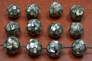 12 Pcs Round Abalone Shell Mosaic Loose Beads 15mm