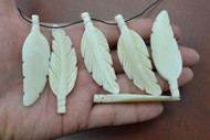 White Carved Buffalo Bone Leaf Pendant