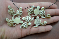 Small Brown Carved Buffalo Bone Turtle Pendant