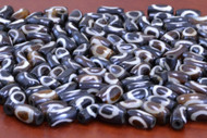 Chocolate Brown Batik Circle Bone Tube Beads 12mm
