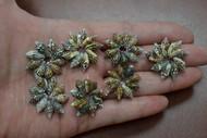 Black & Brown Nassa Shell Rosettes Flower Rings