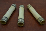 Carved Brown Big Buffalo Bone Tube 4""