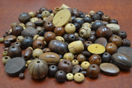 Assort Mix Tube Round Wood Beads
