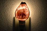 Carved Purple Elephant Shell Nightlight