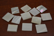 12 Pcs White Square Mother of Pearl Shell Blanks 3/4""
