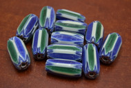 12 Pcs Green, Blue, & White  Cheveron Glass Beads