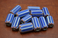 12 Pcs Blue, White, & Red  Cheveron Glass Beads